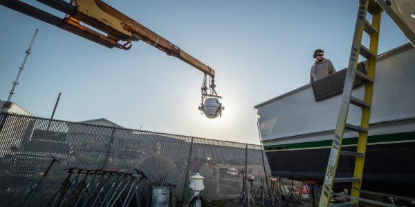 Seakeeper installation going in Scylla, a 64' Spencer